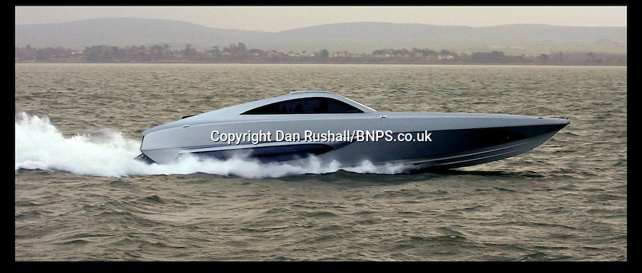 "BNPS.co.uk (01202) 558833<br /> Picture: Dan Rushall<br /> <br /> This James Bond-style powerboat made from Kevlar and carbon fibre was built to chase down pirates with its remote controlled machine gun and 100mph speeds. But now the cutting edge boat - the fastest military vessel ever made - is being sold with no reserve and is tipped to sell for a fraction of its £1.5 million value. It was dubbed ""the Bugatti Veyron of the seas"" at it's launch, and Top Gear host Jeremy Clarkson called it ""the most beautiful thing ever created by man"". But seven years on the 48ft superboat is among 300 lots including two other incomplete boats being sold off by manufacterers XSMG, based in Lymington, Hampshire, to recover money owed to HM Revenue and Customs."