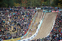 riders climbing out of 'The Pit'<br /> <br /> Men Elite Race<br /> Superprestige Zonhoven 2015
