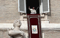 Papa Francesco recita l'Angelus domenicale affacciato su piazza San Pietro dalla finestra del suo studio. Citta' del Vaticano, 16 dicembre, 2018.<br /> Pope Francis recites the Sunday Angelus noon prayer from the window of his studio overlooking St. Peter's Square, at the Vatican, on December 16, 2018.<br /> UPDATE IMAGES PRESS/Isabella Bonotto<br /> <br /> STRICTLY ONLY FOR EDITORIAL USE