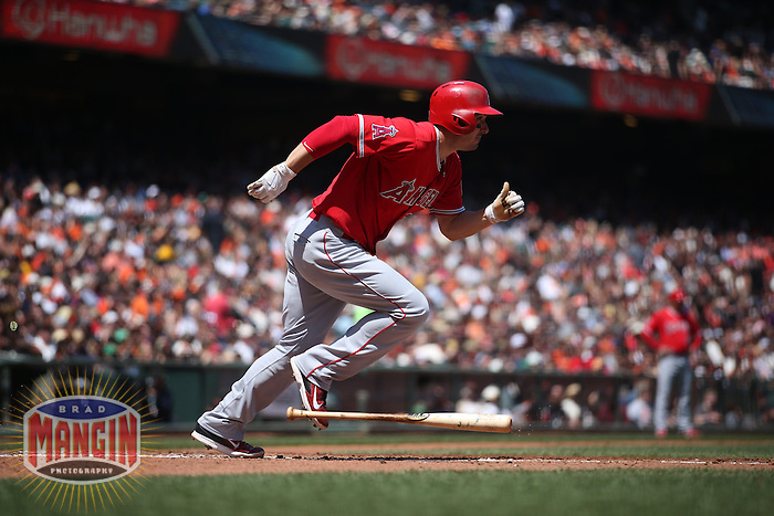 SAN FRANCISCO, CA - MAY 2:  Matt Joyce #20 of the Los Angeles Angels runs to first base against the San Francisco Giants during the game at AT&T Park on Saturday, May 2, 2015 in San Francisco, California. Photo by Brad Mangin