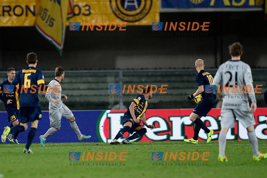 gol Dejan Lazarevic Chievo - goal celebration <br /> Verona 23-11-2013 Stadio Bentegodi <br /> Football Calcio Campionato Italiano Serie A 2013/2014<br /> Verona - Chievo Verona <br /> Foto Daniele Buffa / ImageSport / Insidefoto