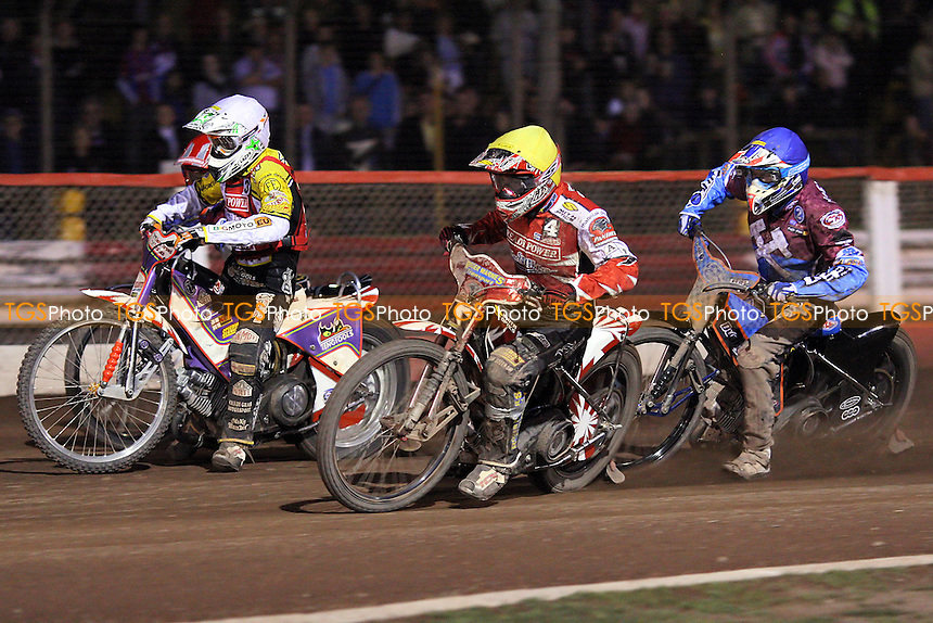 Heat 10: Nieminen (blue), Schlein (white) and Batchelor - Lakeside Hammers vs Peterborough Panthers - Sky Sports Elite League Speedway at Arena Essex Raceway, Purfleet - 28/05/10 - MANDATORY CREDIT: Gavin Ellis/TGSPHOTO - Self billing applies where appropriate - Tel: 0845 094 6026