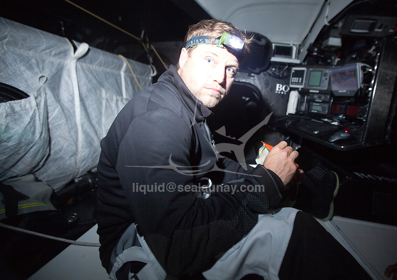 Onboard the IMOCA Open 60 Alex Thomson Racing Hugo Boss during a training session before the Vendée Globe in the English Channel..The Vendée Globe is a round-the-world single-handed yacht race, sailed non-stop and without assistance.
