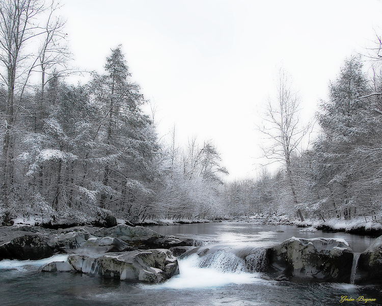 Ortonized view of the Greenbrier River in winter. Smoky Mountain photos by Gordon and Jan Brugman.