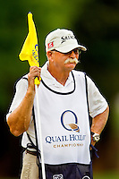 "Caddie Mike ""Fluff"" Cowan, during the third round of the Quail Hollow Championship at Quail Hollow Country Club on May 2, 2010 in Charlotte, North Carolina.  The event, formerly called the Wachovia Championship, is a top event on the PGA Tour, attracting such popular golf icons as Tiger Woods, Vijay Singh and Bubba Watson. Photo from the final round in the Quail Hollow Championship golf tournament at the Quail Hollow Club in Charlotte, N.C., Sunday , May 03, 2009.."