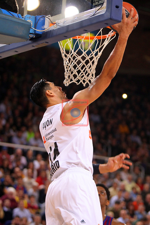 Turkish Airlines Euroleague 2018/2019. <br /> Regular Season-Round 24.<br /> FC Barcelona Lassa vs R. Madrid: 77-70. <br /> Gustavo Ayon.