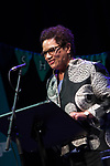 Jackie Kay, poet. Shore To Shore. Poets Carol Ann Duffy, Jackie Kay, Gillian Clarke, Imtiaz Dharker, Tariq Latif and musician John Sampson perform at the Burgh Halls, Dunoon at the end of Independent Bookshop Week. 23 Jun 2018. Credit: Photo by Tina Norris. Copyright photograph by Tina Norris. Not to be archived and reproduced without prior permission and payment. Contact Tina on 07775 593 830 info@tinanorris.co.uk <br /> www.tinanorris.co.uk
