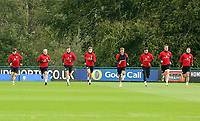 Pictured: Players warm up. Monday 02 October 2017<br /> Re: Wales football training, ahead of their FIFA Word Cup 2018 qualifier against Georgia, Vale Resort, near Cardiff, Wales, UK.