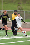 Palos Verdes, CA 01/26/10 - Michelle Schnorf (15) and Shannon French (MC #7) in action during the Mira Costa vs Palos Verdes Girls Varsity soccer game at Palos Verdes High School.