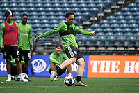 SEATTLE, WA - NOVEMBER 9: Gustav Svensson #4 of the Seattle Sounders FC takes a shot at CenturyLink Field on November 9, 2019 in Seattle, Washington.