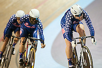 Picture by Alex Whitehead/SWpix.com - 05/03/2017 - Cycling - UCI Para-cycling Track World Championships - Velo Sports Center, Los Angeles, USA - USA's Jason Kimball, Joseph Berenyi and Christopher Murphy in action during the Mixed Team Sprint qualifying.