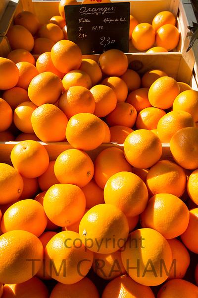 Oranges for sale at food market in France