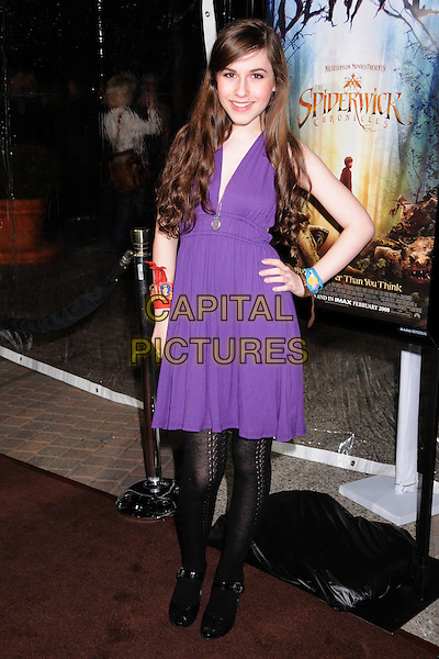 "ERIN SANDERS.""The Spiderwick Chronicles"" Los Angeles Premiere at Paramount Studios, Hollywood, California, USA..January 31st, 2008.full length purple dress hand on hip .CAP/ADM/BP.©Byron Purvis/Admedia/Capital Pictures"