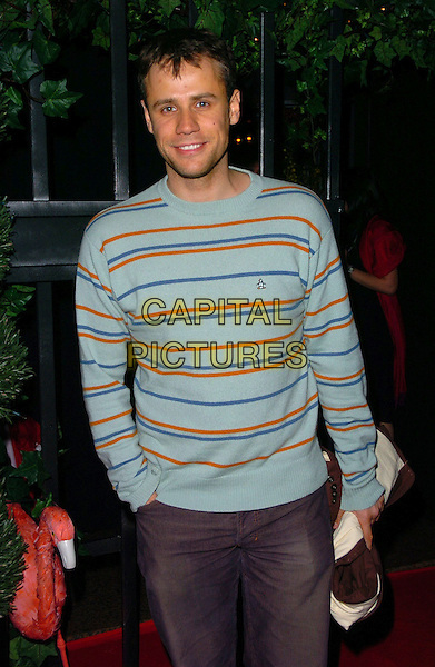 RICHARD BACON.At Hugh Hefner's 80th Birthday Party,.The Play Room, London, England, May 23rd 2006..half length blue striped top jumper.Ref: CAN.www.capitalpictures.com.sales@capitalpictures.com.©Can Nguyen/Capital Pictures