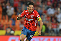 MEDELLIN - COLOMBIA, 20-04-2019: German Cano del Medellín celebra después de anotar el primer gol de su equipo durante partido por la fecha 17 de la Liga Águila I 2019 entre Deportivo Independiente Medellín y Jaguares de Cordoba F:C: jugado en el estadio Atanasio Girardot de la ciudad de Medellín. / German Cano of Medellin celebrates after scoring the first goal of his team during match for the date 17 of the Aguila League I 2019 between Deportivo Independiente Medellin and Jaguares de Cordoba F:C: played at Atanasio Girardot stadium in Medellin city. Photo: VizzorImage / Leon Monsalve / Cont