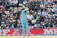 Joe Root (England) pulls a short delivery from Jason Holder (West Indies) square of the wicket during England vs West Indies, ICC World Cup Cricket at the Hampshire Bowl on 14th June 2019