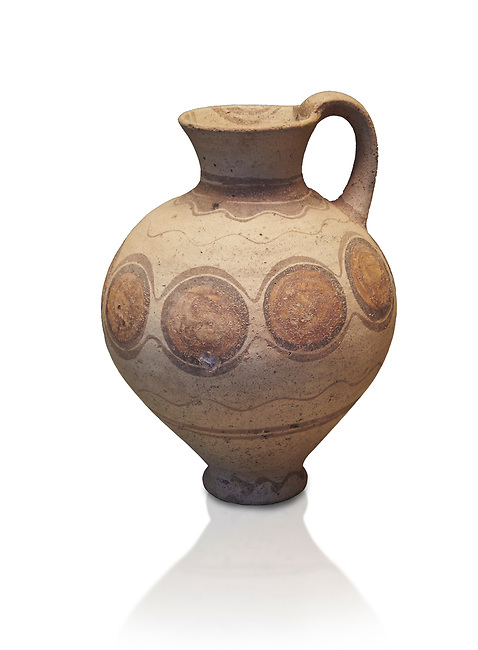 Mycenaean pot with cycladic style design , Grave Circle B, Mycenae 17-16thj Cent BC. National Archaeological Museum Athens.  White Background.<br /> <br /> Bichromatic Cycladic style depicying circles. Cat No 8614