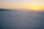Djibouti. Lake Assal. Sunrise on the salt banks.