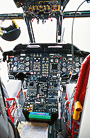 Cockpit of a S61 Sikorsky air sea search and rescue helicopter showing the instrumentation panel...© SHOUT. THIS PICTURE MUST ONLY BE USED TO ILLUSTRATE THE EMERGENCY SERVICES IN A POSITIVE MANNER. CONTACT JOHN CALLAN. Exact date unknown.john@shoutpictures.com.www.shoutpictures.com..