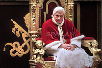 the Curia for Christmas greetings,Pope Benedict XVI  the Sala Clementina  in the Vatican,22 Dec 2011