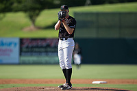 Kannapolis Intimidators relief pitcher Jake Elliott (37) looks to his catcher for the sign against the Hagerstown Suns at Kannapolis Intimidators Stadium on June 15, 2017 in Kannapolis, North Carolina.  The Intimidators walked-off the Suns 5-4 in game one of a double-header.  (Brian Westerholt/Four Seam Images)