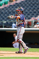 Gwinnett Braves catcher Matt Pagnozzi (19) gives defensive signals during the International League game against the Charlotte Knights at Knights Stadium on July 28, 2013 in Fort Mill, South Carolina.  The Knights defeated the Braves 6-1.  (Brian Westerholt/Four Seam Images)