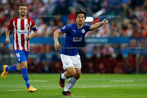 Shinji Okazaki (Leicester), APRIL 12, 2017 - Football / Soccer : UEFA Champions League Quarter-finals 1st leg match between Club Atletico de Madrid 1-0 Leicester City at Estadio Vicente Calderon in Madrid, Spain. (Photo by D.Nakashima/AFLO)