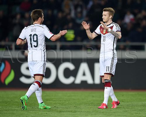 29.03.2015. Tbilisi, Georgia. Euro 2016 football qualification. Georgia versus Germany.  Mario GOETZE celebrates with scorer Marco REUS (ger) for 1:0.