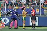 The Hague, Netherlands, June 03: Marsha Cox #8 of South Africa calls for a video referral during the first half during the field hockey group match (Women - Group B) between South Africa and Germany on June 3, 2014 during the World Cup 2014 at Kyocera Stadium in The Hague, Netherlands. Final score 1:3 (0:1) (Photo by Dirk Markgraf / www.265-images.com) *** Local caption ***