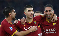 Football, Serie A: AS Roma - Brescia FC, Olympic stadium, Rome, November 24, 2019. <br /> Roma's Gianluca Mancini (c) celebrates after scoring with his teammate Chris Smalling (r) and Lorenzo Pellegrini (l) during the Italian Serie A football match between Roma and Brescia at Olympic stadium in Rome, on November 24, 2019. <br /> UPDATE IMAGES PRESS/Isabella Bonotto