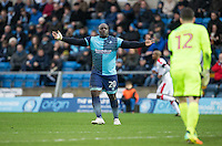 Adebayo Akinfenwa of Wycombe Wanderers during the Sky Bet League 2 match between Wycombe Wanderers and Crawley Town at Adams Park, High Wycombe, England on 25 February 2017. Photo by Andy Rowland / PRiME Media Images.