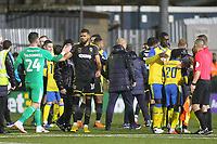 Handshakes at the fnal whistle during Haringey Borough vs AFC Wimbledon, Emirates FA Cup Football at Coles Park Stadium on 9th November 2018