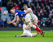 10th February 2019, Twickenham Stadium, London, England; Guinness Six Nations Rugby, England versus France; Tom Curry of England tackles Felix Lambey of France