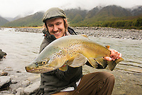 Jack Kos of Christchurch, New Zealand, holds a wilderness brown trout caught high in the Southern Alps.