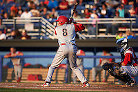 Williamsport Crosscutters second baseman William Cuicas (8) at bat during a game against the Batavia Muckdogs on July 15, 2015 at Dwyer Stadium in Batavia, New York.  Williamsport defeated Batavia 6-5.  (Mike Janes/Four Seam Images)