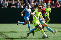 Seattle, WA - Sunday, May 22, 2016: Seattle Reign FC midfielder Kim Little (8) maintains possession against Chicago Red Stars midfielder Vanessa DiBernardo (10) during a regular season National Women's Soccer League (NWSL) match at Memorial Stadium. Chicago Red Stars won 2-1.