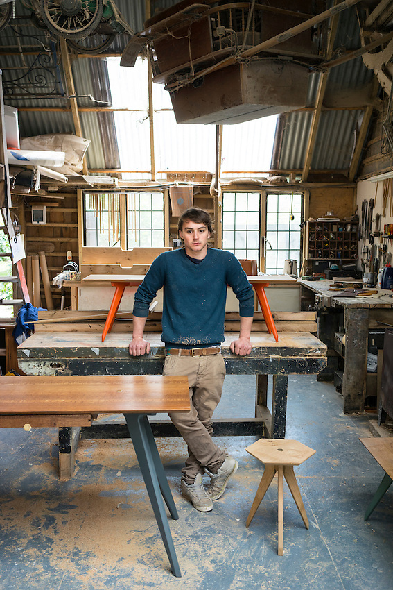 Ted Jefferis in his studio with some of his hand made furniture.
