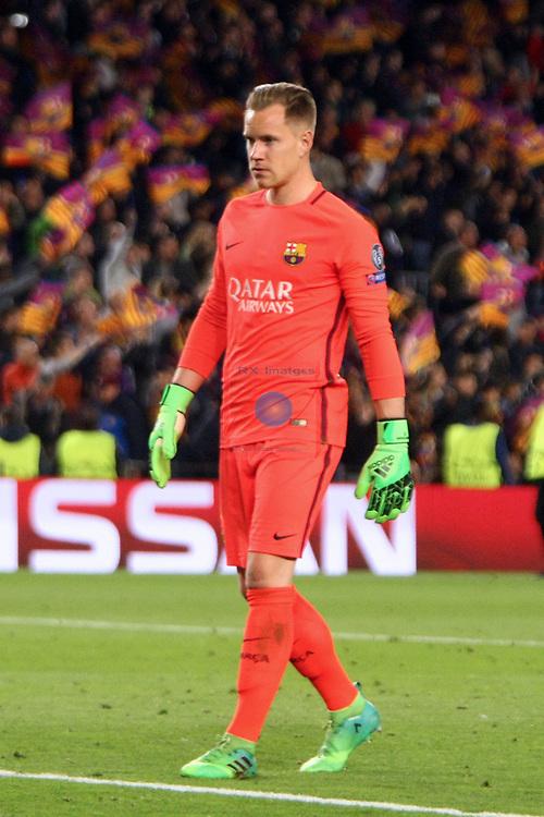 UEFA Champions League 2016/2017.<br /> Quarter-finals 2nd leg.<br /> FC Barcelona vs Juventus Football Club: 0-0.<br /> Marc-Andre ter Stegen.