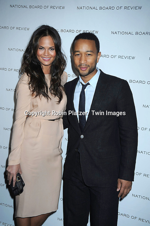 John Legend and Christine Teigen arriving at The National Board of Review of Motion Pictures Awards Gala on .January 11, 2011 at Cipriani 42nd Street in New York City.