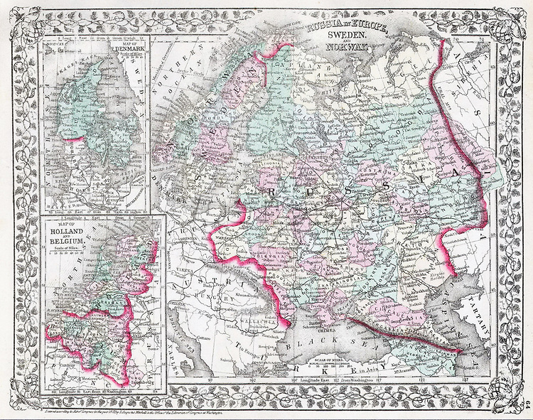 This hand colored map is a lithographic engraving, dating to 1874 by the legendary American Mapmaker S.A. Mitchell, the younger. Divided into three sections, the largest depicting Russia, Sweden and Norway, and two smaller sections representing Denmark, Holland, and Belgium. Dated and copyrighted 1874.  Russia in Europe, Sweden and Norway. - Map of Denmark. - Map of Holland and Belgium.. 1874. 1874 Mitchell Map of Russia - Geographicus - Russia-m-1874