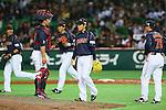 (L to R) .Shinnosuke Abe (JPN), .Kazuhisa Makita (JPN), .MARCH 2, 2013 - WBC : .2013 World Baseball Classic .1st Round Pool A .between Japan 5-3 Brazil .at Yafuoku Dome, Fukuoka, Japan. .(Photo by YUTAKA/AFLO SPORT) [1040]