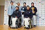 (L to R) Kunio Nakamori, Masanobu Araki, Shoko Ota (JPN), Hiraku Misawa (JPN), Taiki Morii (JPN), Kozo Kubo (JPN), DECEMBER 24, 2013 - : Sochi Paralympics Japanese team first-order announcement press conference at Nihonbashi Hamacho F Tower Plaza, Tokyo, Japan. (Photo by AFLO SPORT)