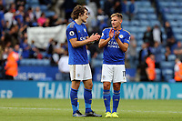 Marc Albrighton and Çaglar Soyuncu of Leicester City after  Leicester City vs Wolverhampton Wanderers, Premier League Football at the King Power Stadium on 11th August 2019