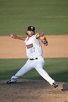 Justin Anderson (27) of the Inland Empire 66ers pitches against the Visalia Rawhide at San Manuel Stadium on June 26, 2016 in San Bernardino, California. Inland Empire defeated Visalia, 5-1. (Larry Goren/Four Seam Images)