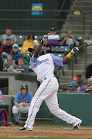 Myrtle Beach Pelicans infielder Hanser Alberto #3 at bat during a game against the Salem Red Sox at Ticketreturn.com Field at Pelicans Ballpark on April 6, 2014 in Myrtle Beach, South Carolina. Salem defeated Myrtle Beach 3-0. (Robert Gurganus/Four Seam Images)