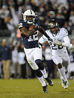 STATE COLLEGE, PA - NOVEMBER 26:  Penn State WR Chris Godwin (12) catches a long touchdown pass during the second half behind Michigan State S David Dowell (28). The Penn State Nittany Lions defeated the Michigan State Spartans 45-12 to win the Big Ten East Division on November 26, 2016 at Beaver Stadium in State College, PA. (Photo by Randy Litzinger/Icon Sportswire)
