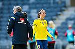 ****BETALBILD**** <br /> Stockholm 2015-04-08 Fotboll Landskamp Damer , Sverige - Danmark :  <br /> Sveriges Kosovare Asllani och tr&auml;nare f&ouml;rbundskapten Pia Sundhage tar varande i hand efter ett byte under matchen mellan Sverige och Danmark <br /> (Photo: Kenta J&ouml;nsson) Keywords:  Sweden Sverige Denmark Danmark Landskamp Dam Damer Tele2 Arena Stockholm portr&auml;tt portrait