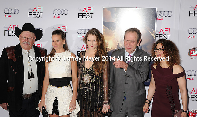 HOLLYWOOD, CA - NOVEMBER 11: (L-R) Actors Barry Corbin, Hilary Swank, Grace Gummer, actor/director Tommy Lee Jones and wife Dawn Laurel-Jones attend the 'The Homesman' premiere during AFI FEST 2014 presented by Audi at the Dolby Theater on November 11, 2014 in Hollywood, California.