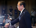 August 10, 2017, Tokyo, Japan - Japan's troubled electronics giant Toshiba president Satoshi Tsunakawa leaves a press conference after he announced delayed financial result ended March at the company's headquarters in Tokyo on Thursday, August 10 2017. Toshiba said it has fallen into negative net worth of 553 billion yen and the auditor issued an adverse opinion on Toshiba's internal control.  (Photo by Yoshio Tsunoda/AFLO) LwX -ytd-