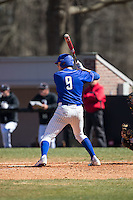 Alex King (9) of the Saint Louis Billikens at bat against the Davidson Wildcats at Wilson Field on March 28, 2015 in Davidson, North Carolina. (Brian Westerholt/Four Seam Images)